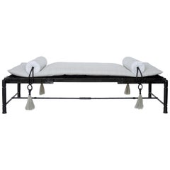 Day Bed, Bench, Classical Modern, Contemporary with Carved Marble Iron Details