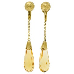 Day & Clark Victorian Citrine 14 Karat Gold Faceted Drop Screwback Earrings