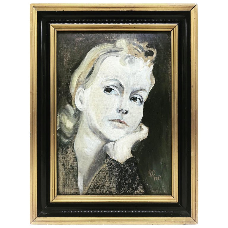 Greta Garbo Oil on Board by an Unknown Artist Dated 1931 and Signed RO For Sale