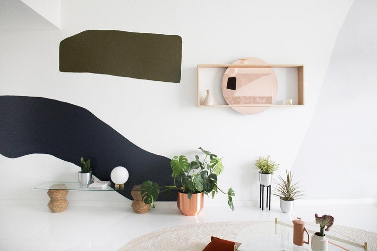 """Made to order. Please allow 6 weeks for production.  The 35"""" circular mirror is suspended within a solid oak frame. The day mirror doubles as mirror and shelf to display books, plant life, beauty care, and more. It's a striking, yet understated"""