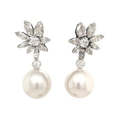 Day and Night Diamond Floral South Sea Pearl Earrings 5.06 Carat 14 Karat Gold