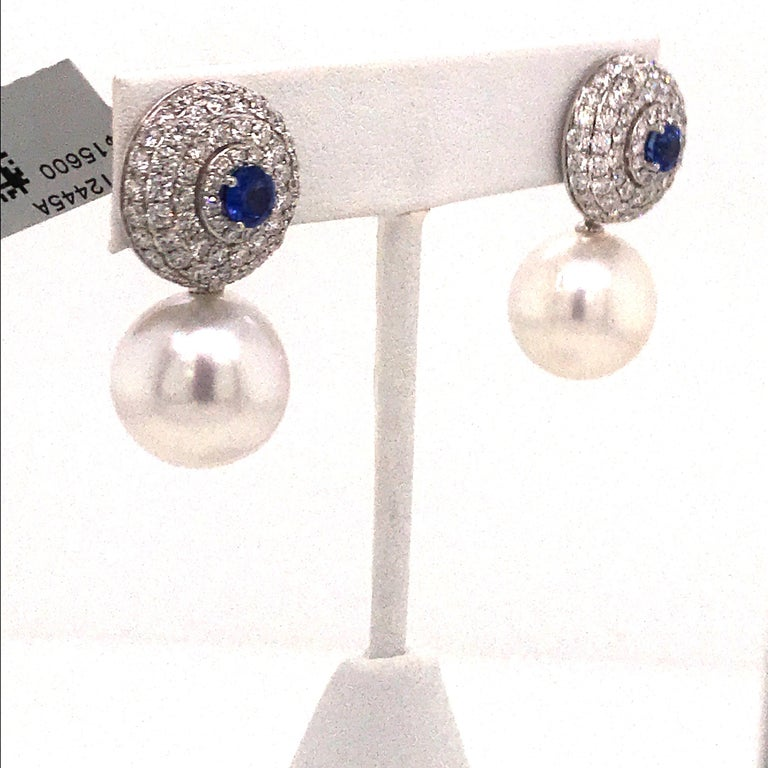 Contemporary Day & Night Diamond Sapphire Pearl Drop/Stud Earrings 4.70 Carats 18K White Gold For Sale