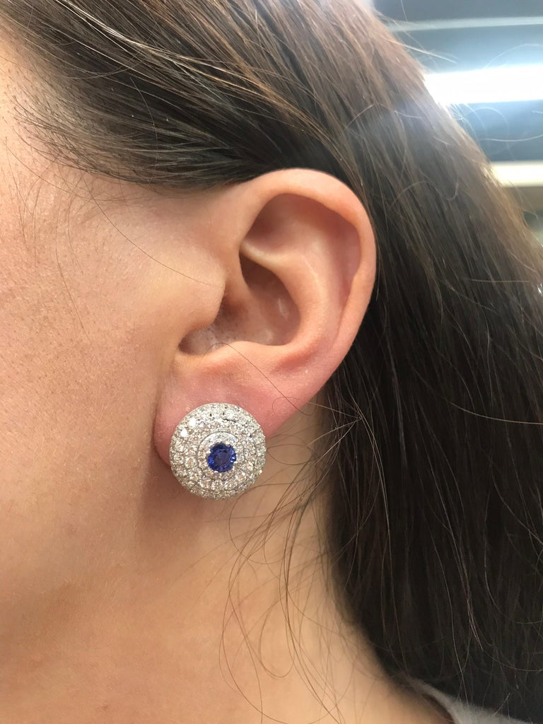 Round Cut Day & Night Diamond Sapphire Pearl Drop/Stud Earrings 4.70 Carats 18K White Gold For Sale