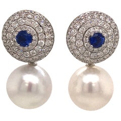 Day & Night Diamond Sapphire Pearl Drop/Stud Earrings 4.70 Carats 18K White Gold