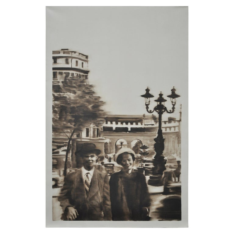 Sepia Oil Painting of Couple on a Paris Street For Sale