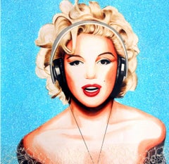 Marylin Blue Diamond Dust Giclee Print Signed old masters techniques street art