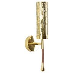 Daya-w1m2 Openwork Brass Wall Light, Flow 2 Collection