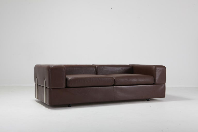 Daybed Sofa 711 by Tito Agnoli for Cinova in Brown Leather For Sale 6