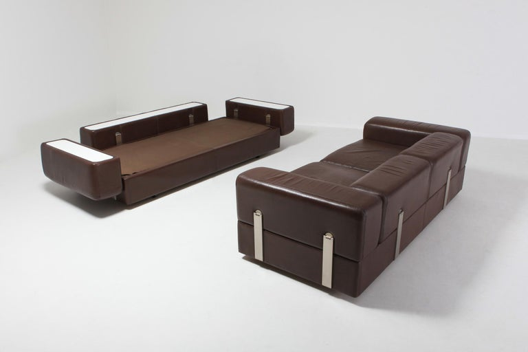 Tito Agnoli for Cinova, sofa bed 711 in brown leather, Italy, the 1960s   Mid-Century Modern Space Age sofa which can be converted in a daybed, designed by Tito Agnoli and manufactured by Cinova.  A truly stunning design, just look at the