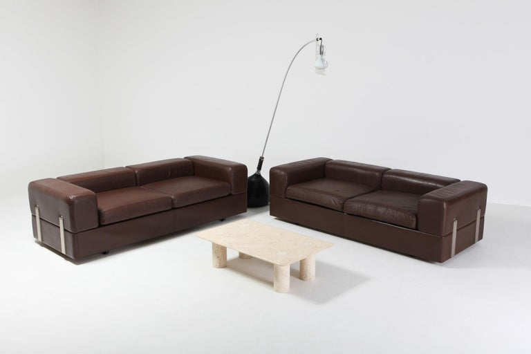 Post-Modern Daybed Sofa 711 by Tito Agnoli for Cinova in Brown Leather For Sale