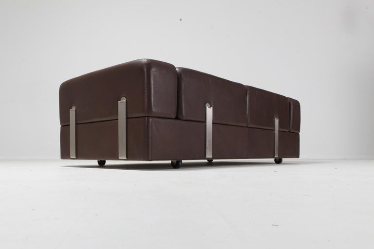 Daybed Sofa 711 by Tito Agnoli for Cinova in Brown Leather In Good Condition For Sale In Antwerp, BE