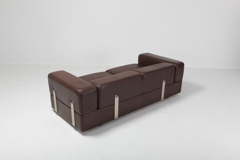 20th Century Daybed Sofa 711 by Tito Agnoli for Cinova in Brown Leather For Sale