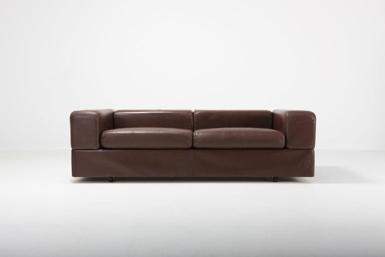 Daybed Sofa 711 by Tito Agnoli for Cinova in Brown Leather For Sale 1