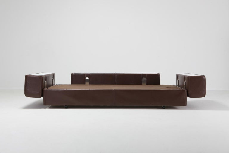 Daybed Sofa 711 by Tito Agnoli for Cinova in Brown Leather For Sale 2