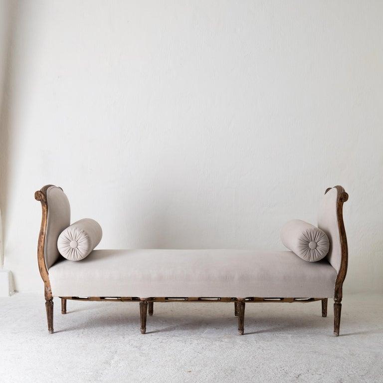 Daybed Sofa Bench Swedish Gustavian 18th Century Dark wood Sweden For Sale 7
