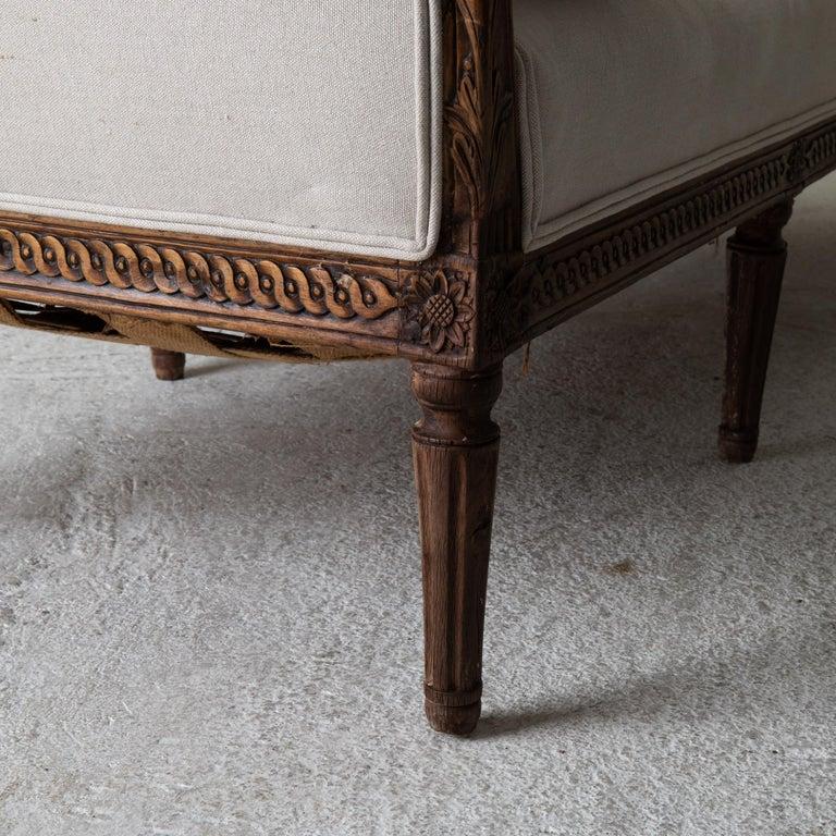 Daybed Sofa Bench Swedish Gustavian 18th Century Dark wood Sweden For Sale 3