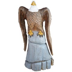 Dayle Lewis American Bald Eagle Carved Tree Art Sculpture Statue