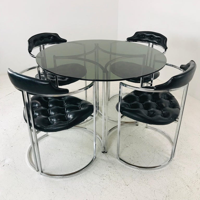 Mid-Century Modern Daystrom Dining Chairs and Table with Smoked Glass For Sale