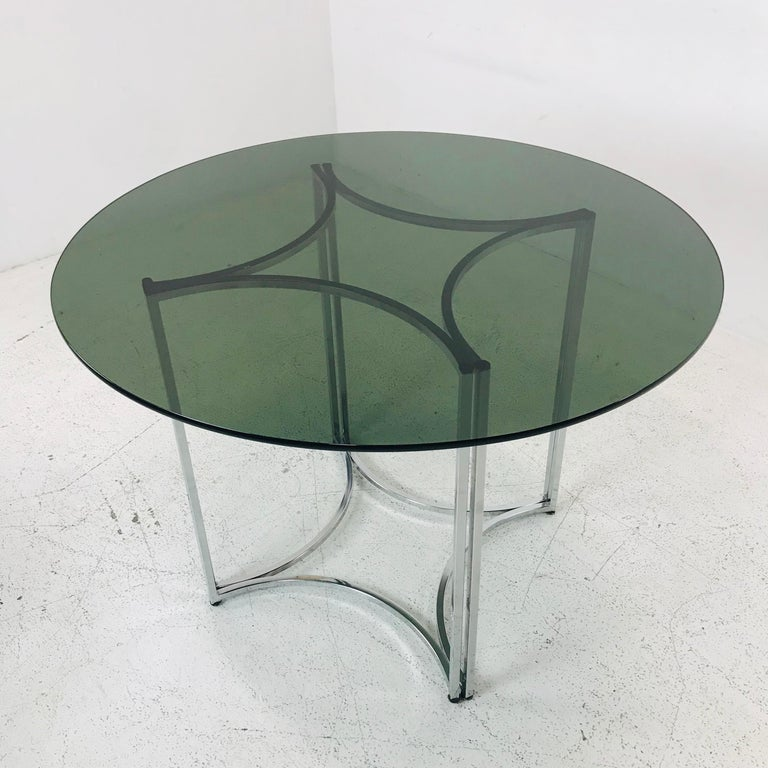 American Daystrom Dining Chairs and Table with Smoked Glass For Sale