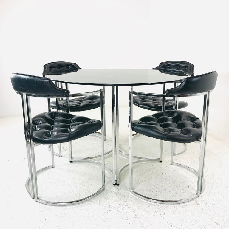Metalwork Daystrom Dining Chairs and Table with Smoked Glass For Sale