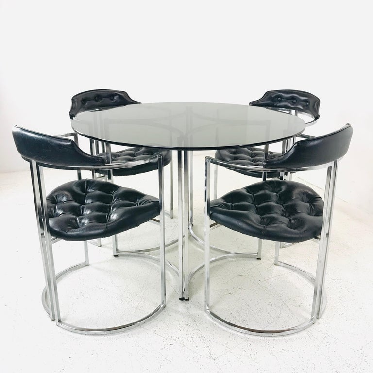 Daystrom Dining Chairs and Table with Smoked Glass In Good Condition For Sale In Dallas, TX