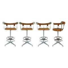 Daystrom Leather and Chrome Swivel Bar Stools, Set of 4