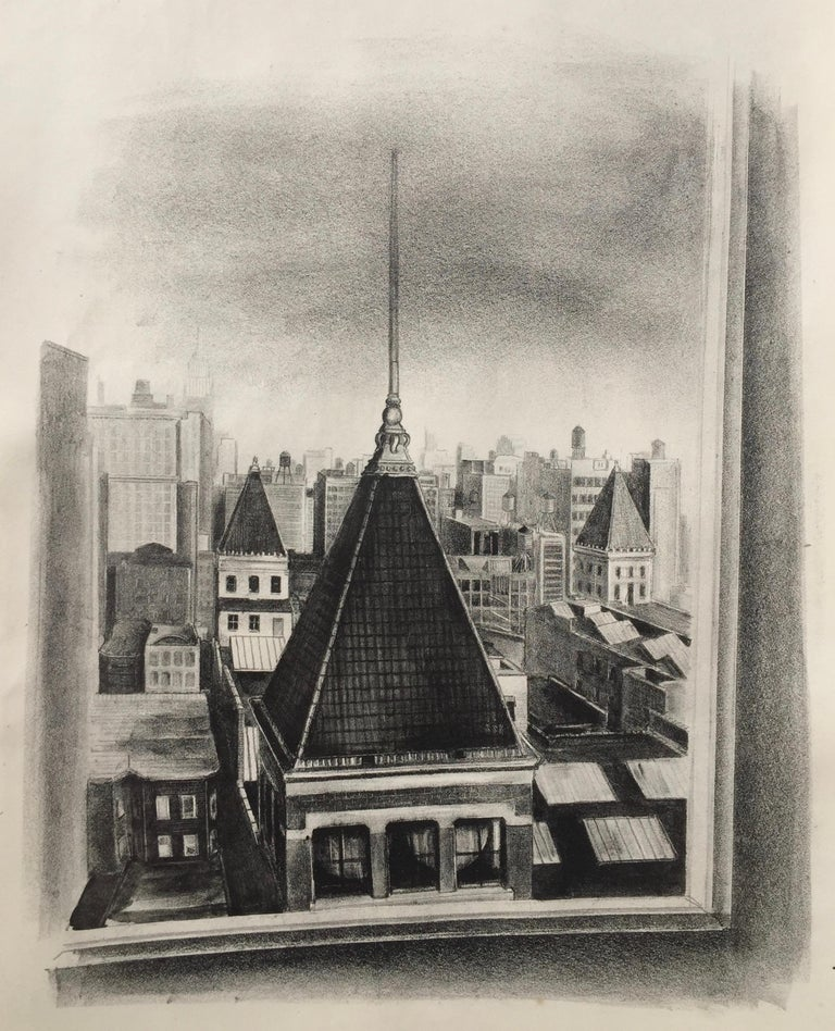 Dayton Brandfield Landscape Print - 14th STREET PERSPECTIVE  (NY) Published by the WPA/FAP (Printer's Proof)