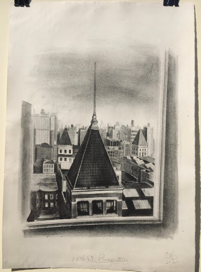 DAYTON BRANDFIELD (American 1911 -1993)  14th ST. PERSPECTIVE, 1936 Lithograph, Initialed and annotated
