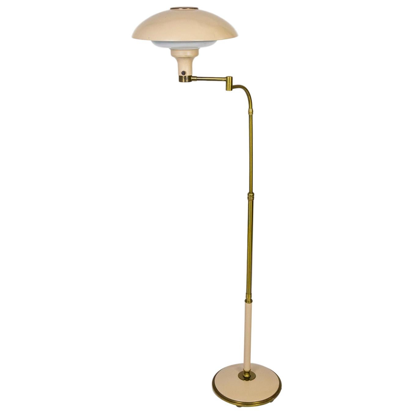 Dazor 1950s Flying Saucer Floor Lamp in Brass & Buff Lacquer
