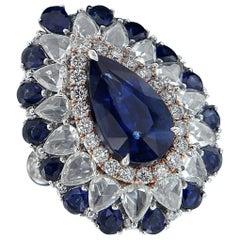 Dazzling 18 Karat White Gold, Diamond, and Sapphire Ring