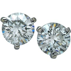 Dazzling 3.06 Carat Diamond Stud Solitaire Earrings