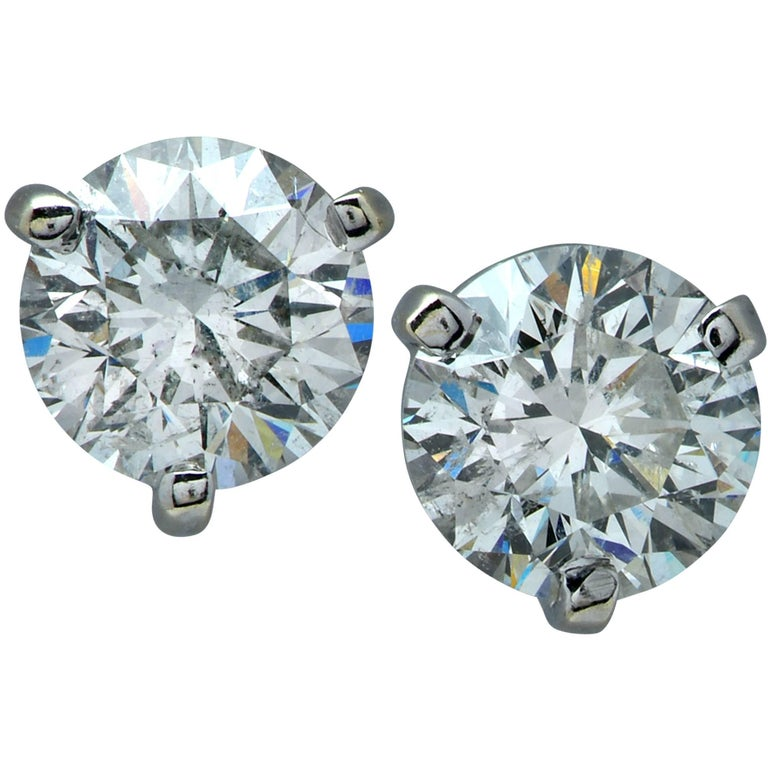 Dazzling 3.06 Carat Diamond Stud Solitaire Earrings For Sale