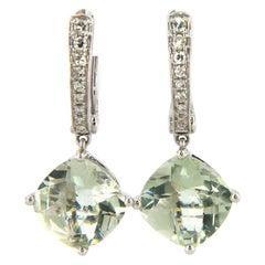 Dazzling 5.8 CTW Prasiolite & Diamond Dangle Earrings in 14K White Gold, New