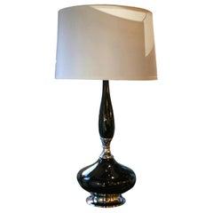 Mid-Century Modernist Black Glazed Ceramic Lamp with Chrome Base