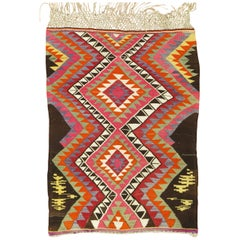 Dazzling Bohemian Vintage Turkish Kilim Flat-Weave