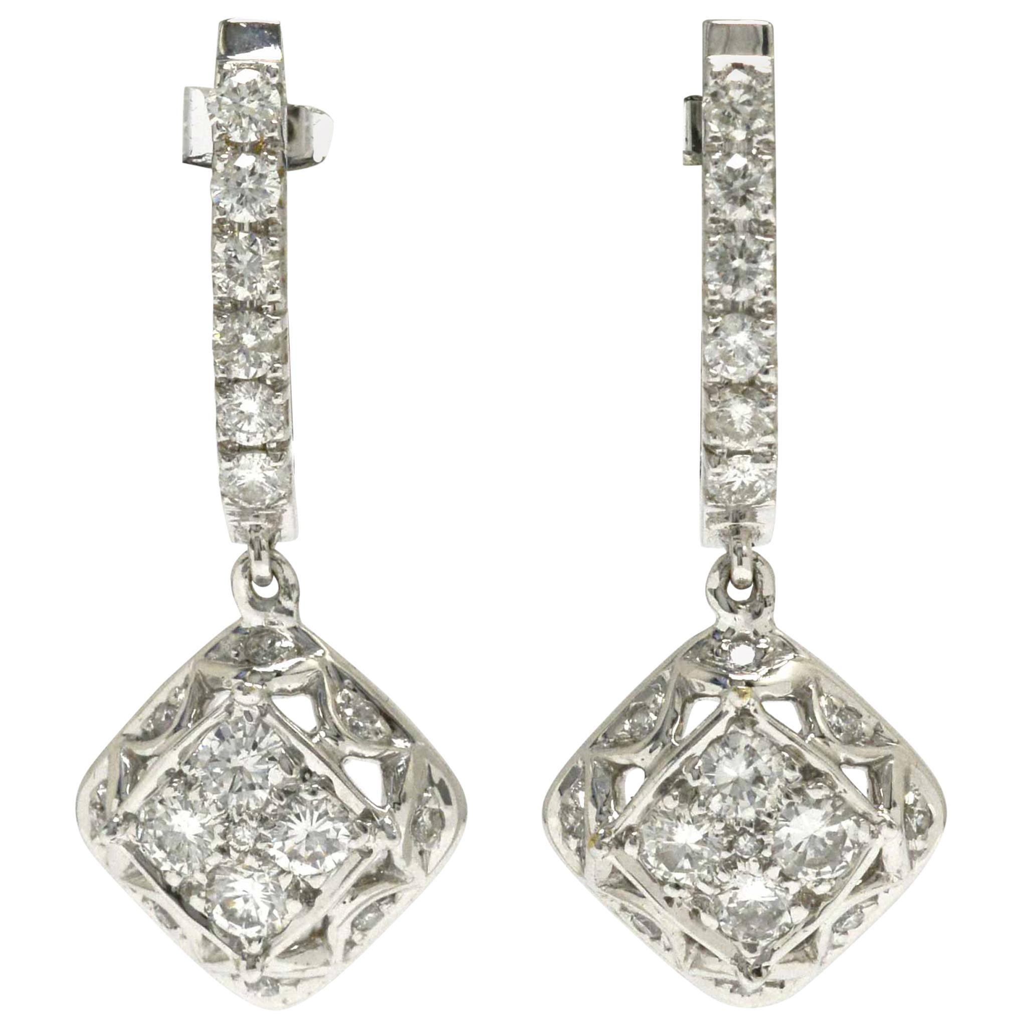 Dazzling Diamond Dangle Earrings Drop Style Estate 18 Karat Gold Over 1 Carat