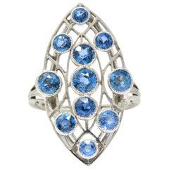 Dazzling Edwardian 2.20 Carat Sapphire Platinum Dinner Ring