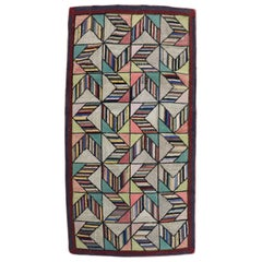 Dazzling Geometric American Hooked Scatter Rug