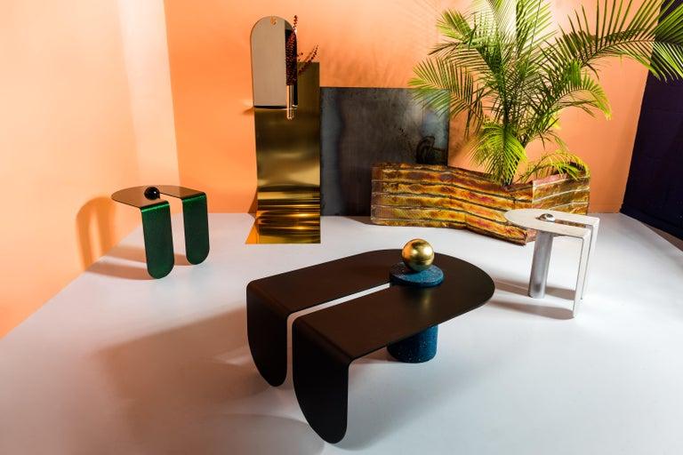 Aluminum Dazzling Geometric Side Table by Birnam Wood Studio and Suna Bonometti For Sale