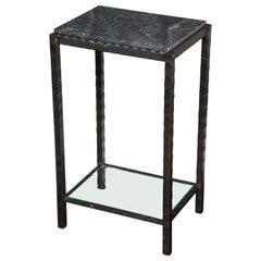 Dazzling Granite Side Table in Hammered Steel Frame