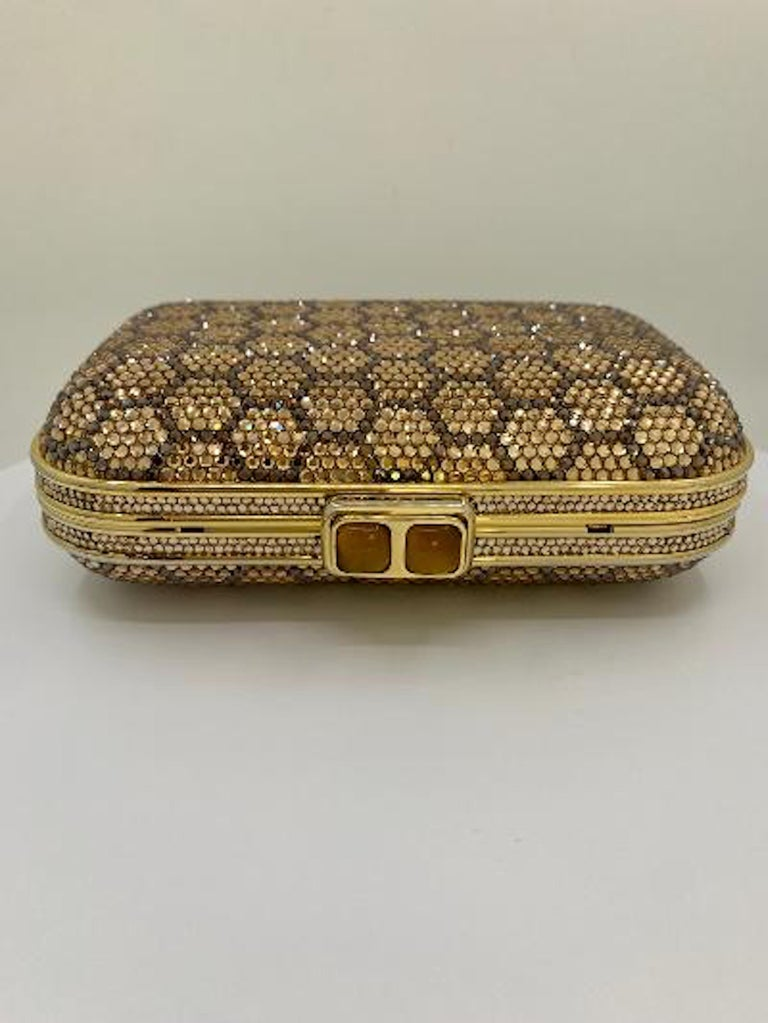 Brown Dazzling Judith Leiber Crystal Minaudiere Evening Clutch With Honeycomb Design  For Sale