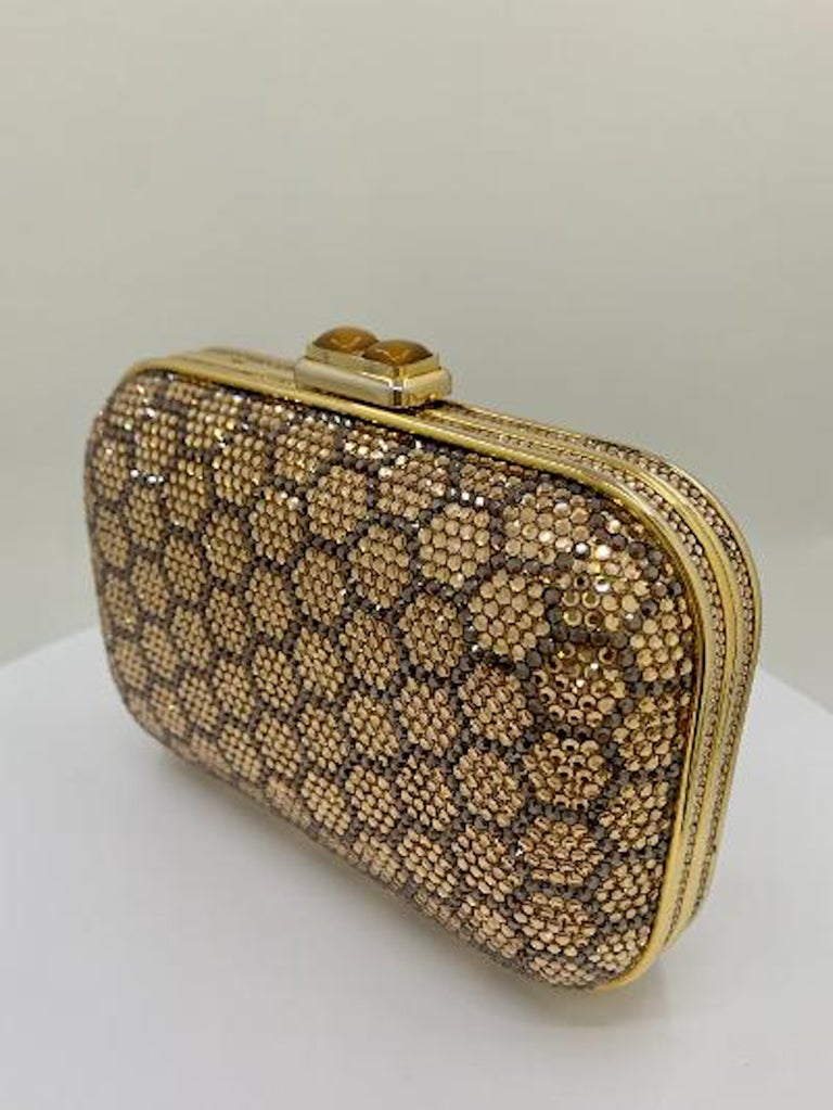 Women's Dazzling Judith Leiber Crystal Minaudiere Evening Clutch With Honeycomb Design  For Sale
