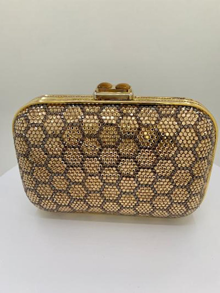 Dazzling Judith Leiber Crystal Minaudiere Evening Clutch With Honeycomb Design  For Sale 1