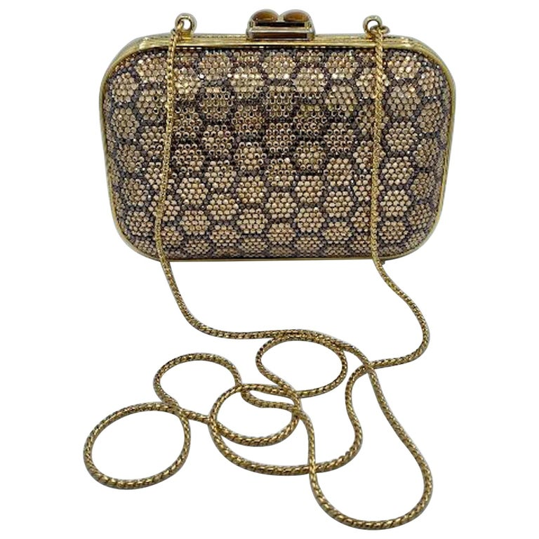 Dazzling Judith Leiber Crystal Minaudiere Evening Clutch With Honeycomb Design  For Sale