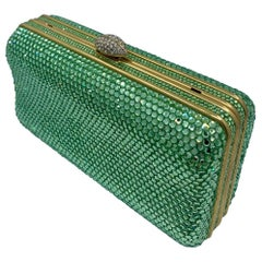 Dazzling Judith Leiber Green Crystal Minaudiere Evening Bag