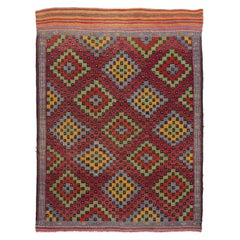 MidCentury Jajim Rug with Floating Checkered Diamonds Design