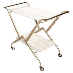 Dazzling Service Cart Frosted Pink White Marble & Patinated Brass Mexico 1960s