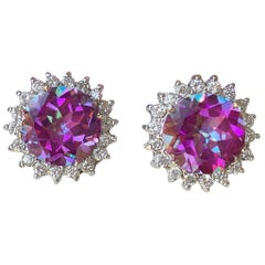 Dazzling Vivid Pink Mystic Topaz Diamond Halo White Gold Earrings