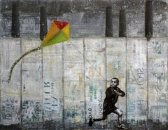 KID WITH KITE, Mixed Media on Paper