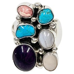 Navajo Sterling Silver 12 Gr. Multi Stone Ring By DC CCRS23